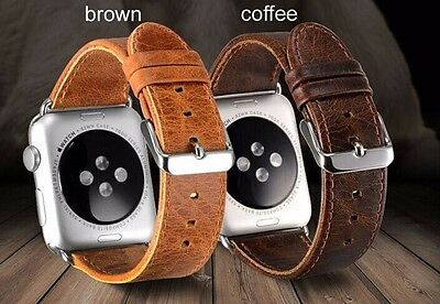 Genuine leather watch strap band for apple watch with band adaptor 42mm brown