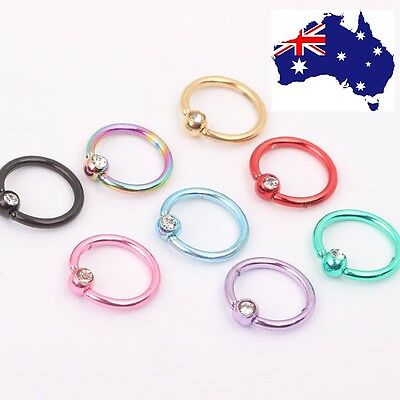 Nose Piercing Crystal Titanium Anodized Steel Stud Hoop  Body Ring Jewelery