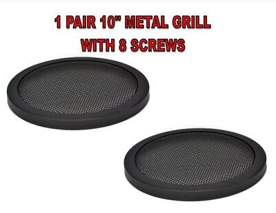 """1 Pair 10"""" INCH CAR SPEAKER WOOFER STEEL MESH GRILLS WITH SPEED CLIPS AND SCREWS"""