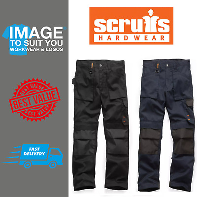 Scruffs Worker Trousers Navy Black Multi Pocket Work Trousers All Sizes