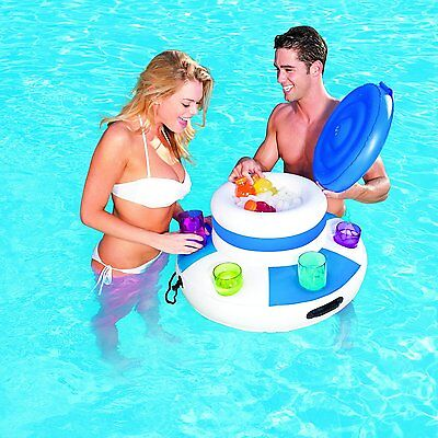 Bestway Mega Inflatable Floating Swimming Pool Bar Cooler Beverage Holder