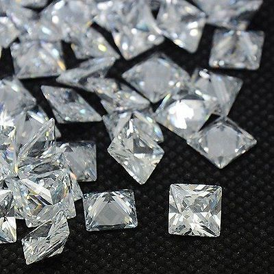 50PCS Clear Square Shaped Cubic Zirconia Loose Stone CZ Cabochons Faceted Craft