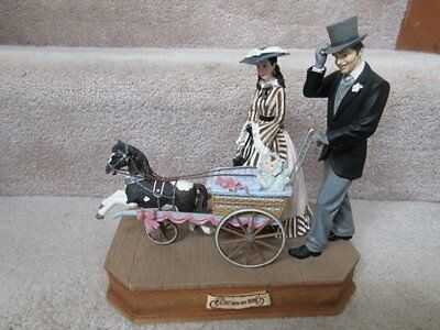 Gone with the Wind San Francisco Music Box Rhett & Scarlett with Baby Carriage