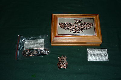 3pc Copper Reflections Jewellery & Box Lot With Name Cards Box Brooch Barrette