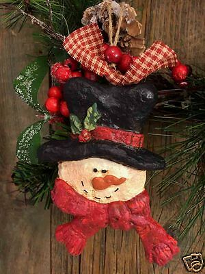 """Beeswax Ornament Hand Painted Snowman with Hat 3.5"""" x 5""""  FREE SHIPPING"""