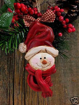 """Beeswax Ornament Hand Painted Snowman with Scarf - 3.5"""" x 7"""" FREE SHIPPING"""