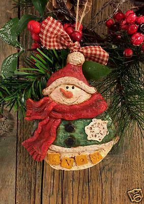 """Beeswax Ornament Hand Painted Snow Man - 3.5"""" x 5""""  FREE SHIPPING"""