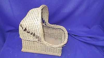 Antique Child Doll Bassinet bed wicker weaved and beaded Natural color!