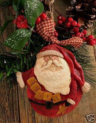"Beeswax Ornament Hand Painted Santa - 4.5"" x 4.5"" FREE SHIPPING"