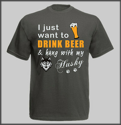 Sled Dog Spirit Drink Beer With Husky Huskies T Shirt Funny Humour Mens Lads