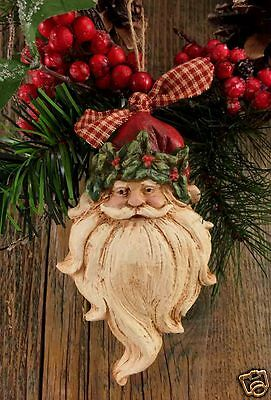 "Beeswax Ornament Hand Painted Santa with 'Beard - 3"" x 5.5"" FREE SHIPPING"