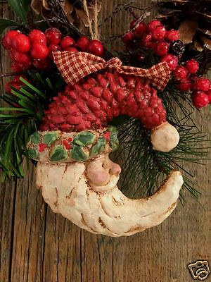 """Beeswax Ornament Hand Painted Crescent Santa - 4"""" x 6""""  FREE SHIPPING"""