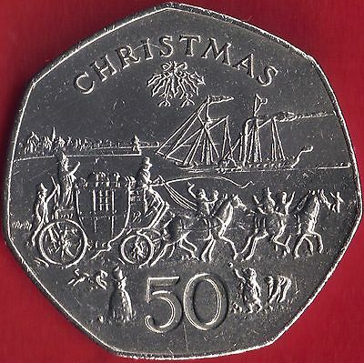IOM Isle of Man Manx 1980 50p Christmas PS Mona's Isle & Mail Coach Unc Wallet