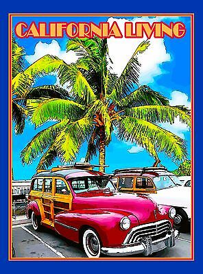 California Living Woodie Ocean Beach United States Travel Advertisement Poster