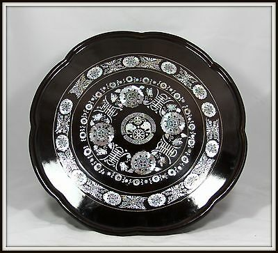 "LOVELY ""Hand Carved Oriental Serving Tray with Mother of Pearl Inlay"" (17.5"" W)"