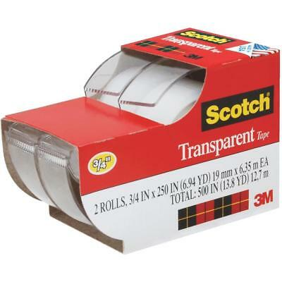 "8 X 3M Scotch Clear Transparent Office Tape 3/4"" x 250"" w/ Desktop Dispenser"