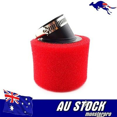 RED 37mm 38mm Bent Angled Foam Air Filter Pod 125cc PIT Quad Dirt Bike ATV Buggy