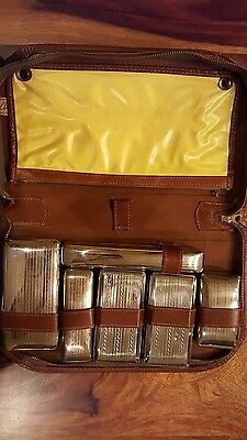 Very rare men vanity set by ausco trademark (canada) with leather case