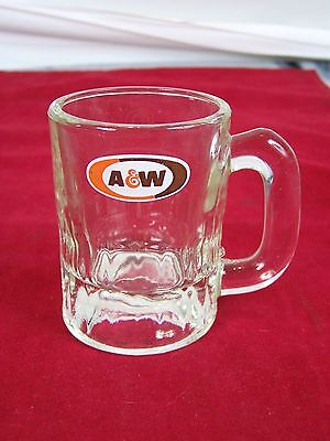 """A&w Miniature Mug Root Beer Stein 3"""" Tall Vintage Drinking Glass Cup Clear Tm"""