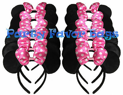 40 PC MICKEY MOUSE EAR HEADBANDS ALL BLACK  PARTY FAVORS COSTUME MINNIE EARS