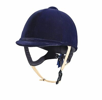 Caldene Tuta velvet horse riding hat helmet PAS015.2011 leather strap navy black