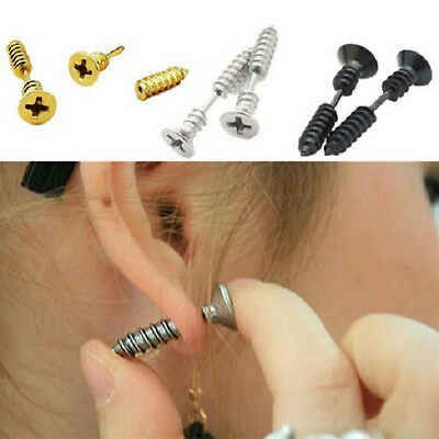 SCREW STAINLESS STEEL FAKE CHEATER EAR PLUGS Piercing Stud Ring Jewellery CH7