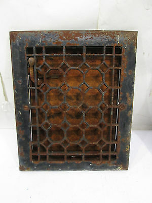 "Vintage Cast Iron Honey Comb Grate w/Damper  11.75""x9.75"" ASG#7"