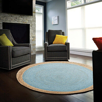 New Jute Natural Blue Rug Network Living Room Hand Woven Multi dimension