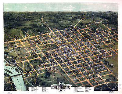 "Bird's Eye View Columbia SC Vintage 1872 Map Poster/ Print - 8.5"" x 11"" Reprint"