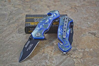 Tac Force Blue Aluminum Handle w/ Purple Dragon Small Spring Assisted Knife NEW!