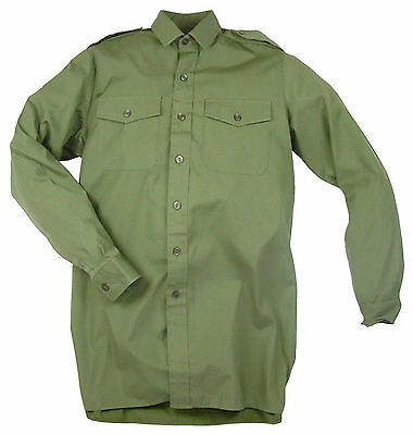 Mens General Service Shirt British Army Surplus Long Sleeve Olive Green