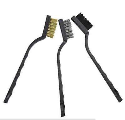 3x Handy Brush Stainless Steel Nylon Brass Wire Brushes Set Cleaning Rust Kit FO