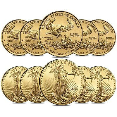Lot of 10 - 2016 1/10 oz Gold American Eagle $5 Coin BU
