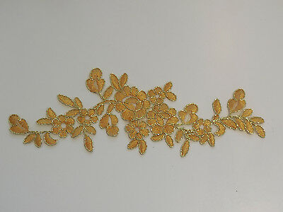 Gold floral lace applique with gold cords tulle lace motif for sale. By piece