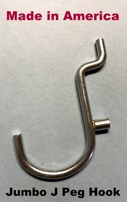 """(100 PACK) JUMBO J, 1 inch Metal Peg Hooks  For Garage and 1/8"""" to 1/4"""" Pegboard"""