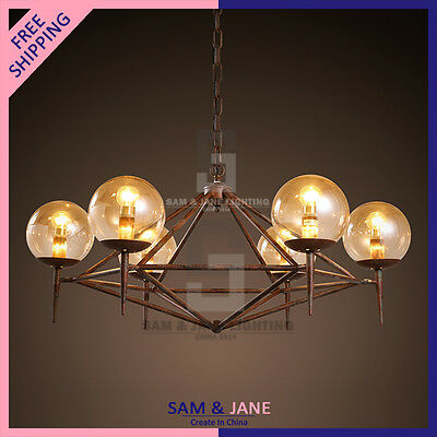 Antique LED Round Chandelier Iron Framework Globe Ceiling Fixture Rustic Chain • CAD $595.75