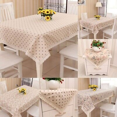 Square & Rectangular Party Dinning Tablecloth Cotton&Linen Table Cover Runner