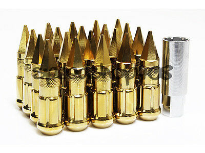 Z Racing Gold Spike Lug Nuts 20 Pcs 12X1.25Mm Steel Extended Tuner Key