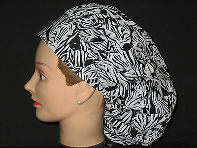 Surgical Scrub Hats/Caps   Hidden Zebras  Black and White