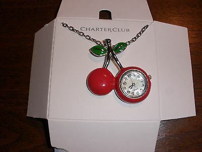 Charter Club Cherries Watch Pendant Necklace (NEW)
