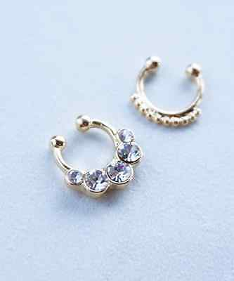 Silver or Gold Simple Bubbles Crystal Boho Faux Fake Septum Clip-On Nose Ring