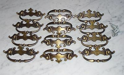 "4 Vintage Mid Century Amerock 2Tone Brass Cabinet Drawer Pull Handles ""1968 CAN"""