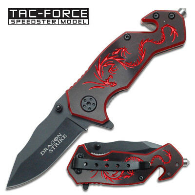 Tac Force Black Aluminum Handle w/ Red Dragon Small Spring Assisted Knife New