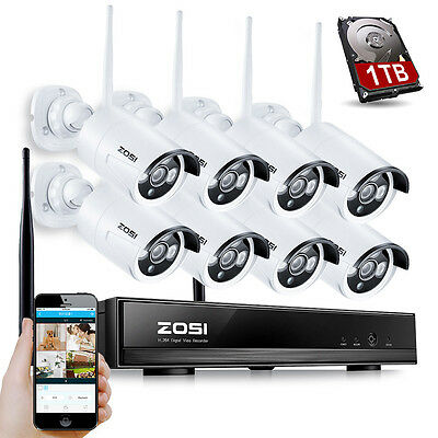 ZOSI 8CH 960P NVR HD Wireless WiFi Outdoor IP Camera Security System Kit 1TB HDD