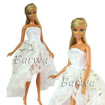 White Princess Evening Wedding Party Mini Dress Clothes Outfit For Barbie Doll