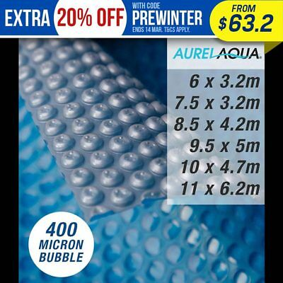 Aurelaqua Solar Swimming Pool Cover Blue/Silver Outdoor Bubble Blanket