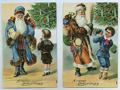 C1905 Two L Pu Embossed Postcards Father Christmas Brown Robes/blue Robes K56