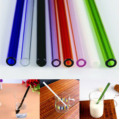 "Reusable Colorful Glass Drinking Thick Straws Wedding Birthday Party 0.8"" 8mm"