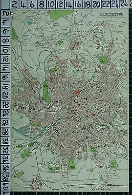 1903 City Plan Manchester ~ Streets Buildings Railway Stations Parks Dock