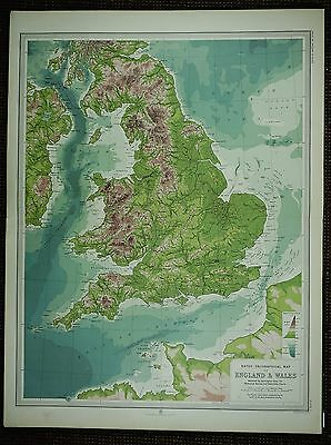 1903 Antique Map ~ England & Wales Brecon Beacons Pennine Chain Mountains